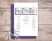 Printable Mother's Day Card | Greetings Card Periodic Table | For Her Birthday | Unique Mother's Day Card | Funny Birthday Card | 5 x 7 inch