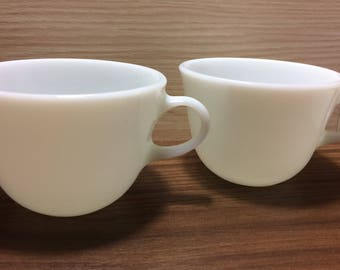 Pair of Vintage Pyrex Coffee Cups White Milk Glass, Made in USA