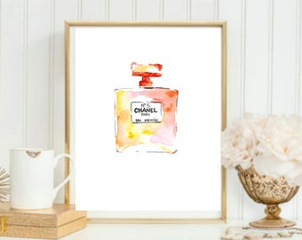 Chanel Perfume Bottle Watercolor Painting // Pink & Orange Chanel Bottle // Fashion Art // Chanel No5 Painting