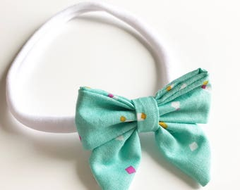 Baby Girl Green Confetti Nylon Bow Headband