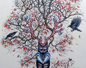 Illustration Print 'Owl Tree'