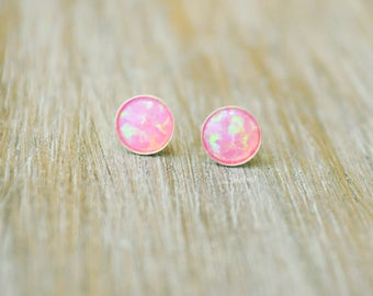 Opal stud earrings. Tiny Opal Stud. Fire opal. Opal earrings. White Opal. Blue opal. Opal Post. Valentines Day gift for her. Opal gold stud
