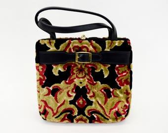 60s Upholstery Bag   Black & Fall Colors   Large Upholstery Handbag