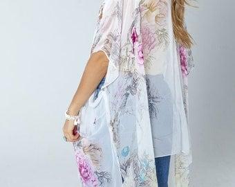 The Peace Keeper Kimono- S N O W Boho Kimono Beach Cover Up, Long Kimono Robe, Summer Kimono, Bohemian Print Kimono, Boho Fashion