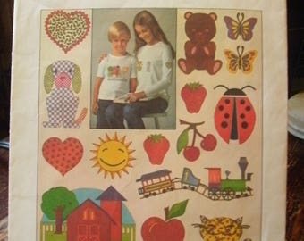 Simplicity 7819 Printed Pattern ~ One Size ~ 1976 Iron-on Color Transfers