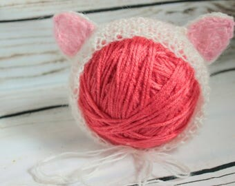 Knitted newborn baby cat bonnet |Baby bonnet | Made to order | Newborn size only