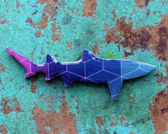 Shark Necklace / Shark Brooch - Lemon Shark Necklace - Geometric Purples