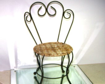 Doll Chair, Garden Seat, Ice Cream Parlor Chair, Wrought Iron, Wicker / Cane Seat