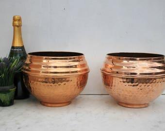 Deux seau de Français vintage cuivre jardinières, Jardiniere, Villedieu, pot, Français en cuivre martelé