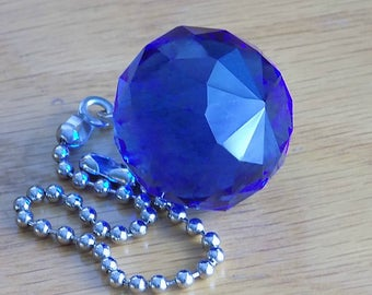 Blue Crystal Ball Ceiling Fan Pull Chain, Crystal Light Pull, Prism Suncatcher, Fan Accessories, Lighting Decor