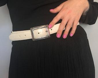 Medium 1980s white faux snakeskin leather belt