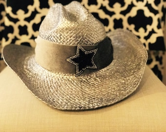 Metallic Silver cowboy hat/Nashville/cowgirl hats/stars and stripes