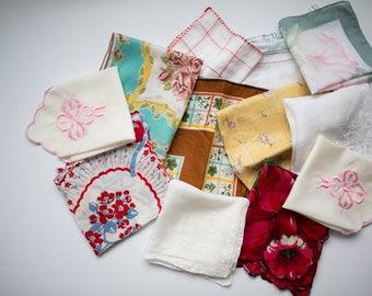 Vintage Handkerchief Lot, Lady Handkerchief, Set of 12