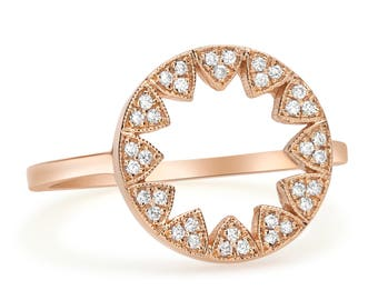 14K White Gold Yellow Gold Rose Gold Women Everyday Wedding Casual Round 0.12 Ctw Real Genuine Natural Diamond Ring Band