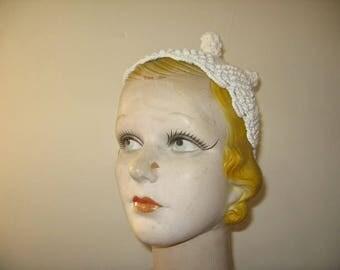 1930's-40's Off White Cotton Blend Crochet Cap!