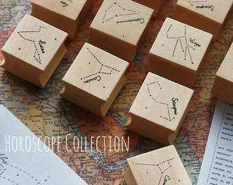 Horoscopes Collection, Wood Rubber Stamp