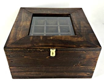 Dark Stained Wooden Jewelry Box, Reclaimed Wood Storage Box, Handcrafted Rustic Keepsake Chest, Mineral & Crystal Box, Divided Tray Box
