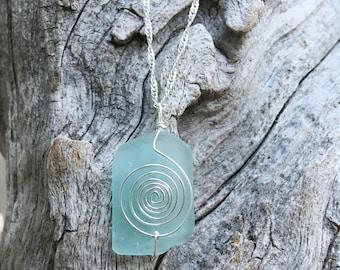 Light blue sea glass necklace