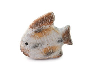 Brown and off white ceramic fish