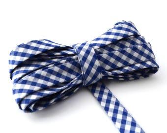 Bias gingham ocean blue color cotton