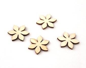 Wooden flower blank set of 4