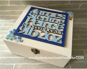Wooden Personalised Baby/Christening/baptism Keepsake Box