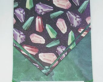 Crystals & Space Greeting Card / Outer Space Card / Galaxy Card / Natural Crystal / Natural Stone / Handmade Greeting Cards for Best Friends