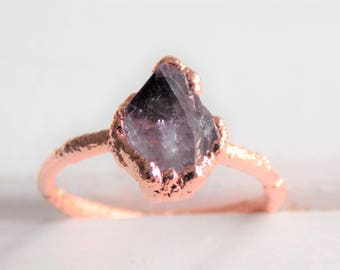 Raw amethyst ring -  raw crystal ring - boho ring - raw stone ring - february birthstone ring - copper amethyst ring