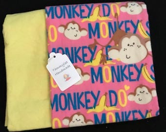 Monkey Flannel Baby Blanket