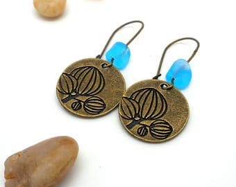Earrings sleepers flower, glass turquoise bead
