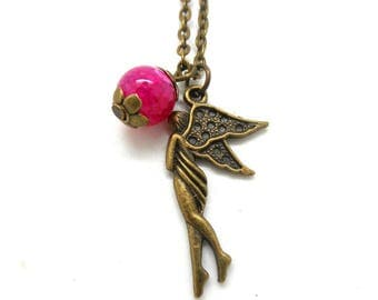 Bronze necklace, fairy and dark pink natural Pearl