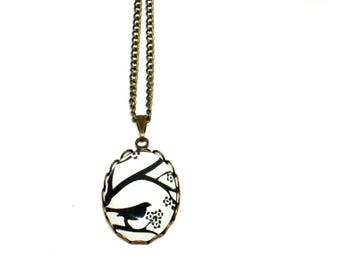 Necklace bronzes cabochon black Bird on branch