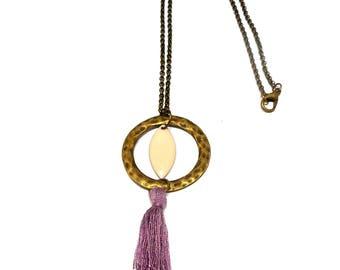 Necklace bronze, hammered round, purple tassel and purple enamel charm
