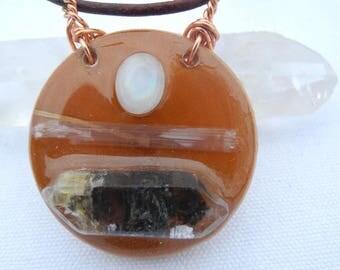 Crystal EcoResin Wood Necklace Black Phantom Double Terminated Tibetan Quartz Selenite Rainbow Moonstone