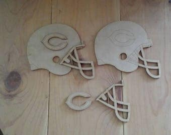 Chicago Bears helmets - unfinished wood cutouts (set of 2)