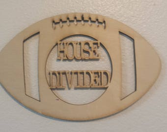 House divided football - unfinished wood cutout