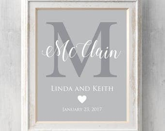 Personalized Monogram Wedding Print. Wedding, Anniversary. Names and date. Valentine. Names. Card. Heart. All Prints BUY 2 GET 1 FREE!