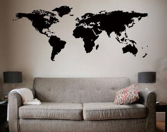 World Map Wall Decal - World Map Decal - Vinyl Wall Art Mural - World Map Decal for  Home , Retail , or Office
