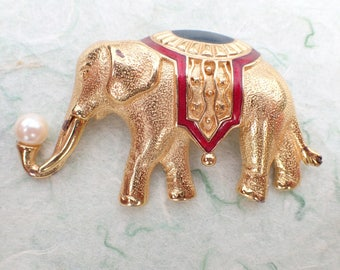 Monet Circus Elephant brooch textured gold tone thick enamel AB973