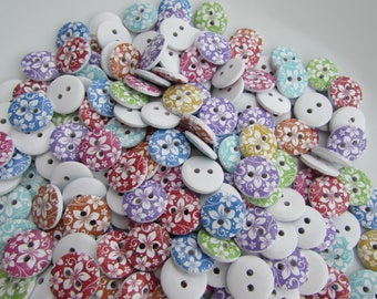 Pack of 5 Round Floral Print Button