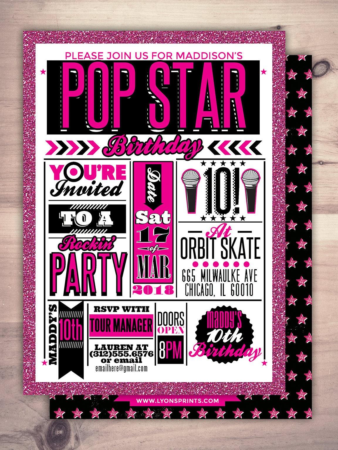 Rock Star invitation, pop star invitation, baby shower, rock star ...