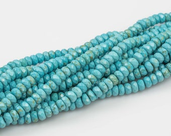Gorgeous Dyed Lt Med Blue Turquiose, High Quality in Faceted Roundel 6mm