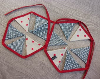 """Garland of 12 pennants """"Anthony"""" for little boy's room, red and blue-gray."""