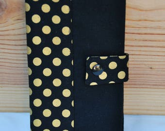 Cotton checkbook black and gold