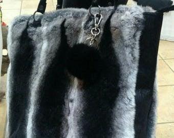 New!Natural,Real REX Fur CHINCHILLA color Shopper Bag!!!
