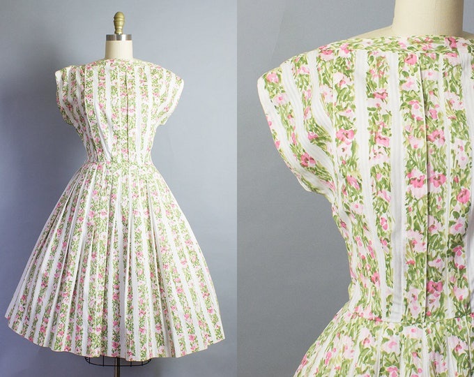 1950s Floral Stripe Dress/ Medium (36B/29W)