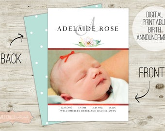 Birth Announcement Card for Newborn Baby Girl Custom Birth Announcement Card Baby Announcement Card Personalized Photo Baby Card Floral Card