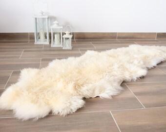 Double Sheepskin Rug | Creamy White sheepskin | Shaggy Rug | Chair Cover | Area Rug | Rectangle Sheepskin Rug | Sheepskin Throw |