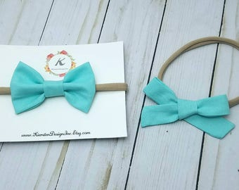 Baby blue nylon headbands - classic bow - hand tied bows - baby blue bows - baby girl headbands - headbands and bows - nylon headband set