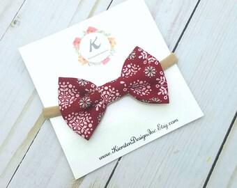 Christmas nylon headband - red snowflake bow - christmas bows - holiday bows - nylon headbands - baby girl headbands - christmas headbands